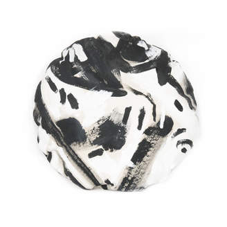 Black Two Hue Painted Circle Pillow by Naomi Clark for Fort Makers