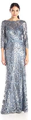 Tadashi Shoji Women's Sequin Lace Gown-3/4 SLV & Ribbon Belt, 2