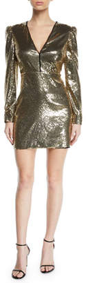 Rebecca Minkoff Sydney Sequined Strong-Shoulder Cocktail Dress