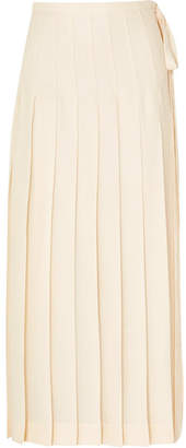 Victoria Beckham Pleated Crepe Maxi Skirt - Pastel yellow