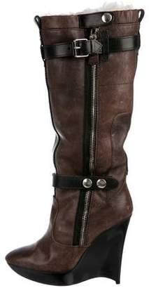 Balenciaga 2004 Leather Wedge Boots