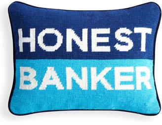 Jonathan Adler Honest Banker Needlepoint Pillow
