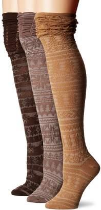 Muk Luks Women's 3 Pair Pack Microfiber Over the Knee Socks