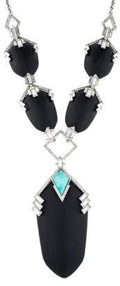Alexis Bittar Deco Lucite & Crystal Pendant Necklace