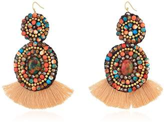 Panacea Womens Rope Multi Stone Fringe Earrings