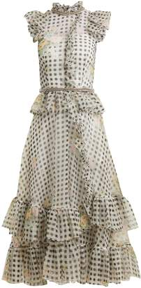 Christopher Kane Floral-print gingham silk-organza dress