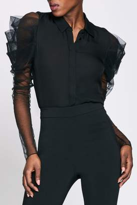 Cushnie Black Button Down Blouse With Ruched Sleeves
