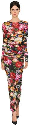 Dolce & Gabbana Long Floral Print Stretch Jersey Dress