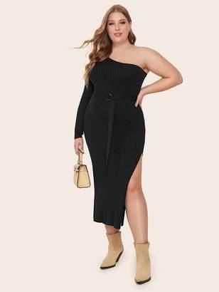 Shein Plus One Shoulder Split Thigh Belted Sweater Dress