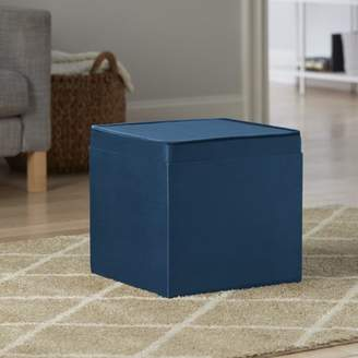 Better Homes & Gardens Better Home and Gardens Velvet Storage Ottoman with Tray, Baltic Sea