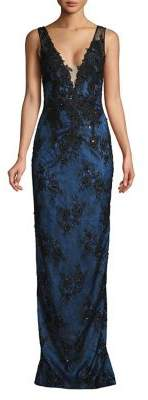Mandalay Embroidered Deep V-Neck Gown