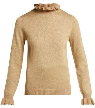 Shrimps - Robin Metallic Wool Blend Roll Neck Sweater - Womens - Gold