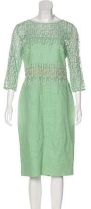 Lela Rose Embroidered Midi Dress w/ Tags Mint Embroidered Midi Dress w/ Tags