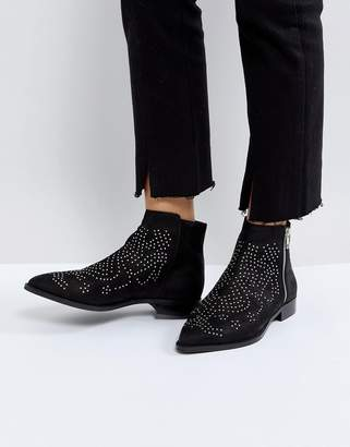 Asos Design AUTO PILOT Suede Studded Ankle Boots
