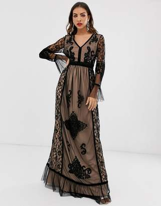 Frock and Frill lace detail long sleeve maxi dress