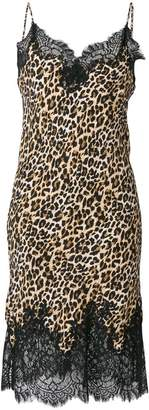 Gold Hawk lace trim leopard print dress