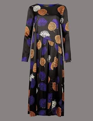 Marks and Spencer Printed Long Sleeve Tea Midi Dress