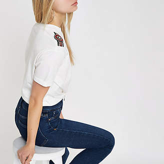 River Island Womens White embellished knot front T-shirt
