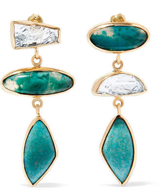 Melissa Joy Manning 18-karat Gold And Sterling Silver Multi-stone Earrings - one size