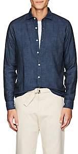 Barneys New York Men's Double-Faced Cotton Voile Shirt - Navy
