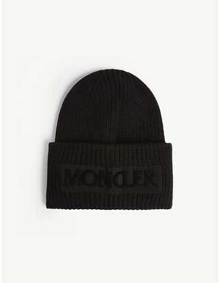 at Selfridges · Moncler Logo rib-knit wool beanie