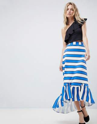 Asos Scuba Midaxi Skirt with Scallop Hem in Stripe