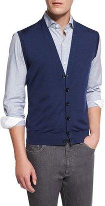 Ermenegildo Zegna Wool Cardigan Vest, American Navy $595 thestylecure.com