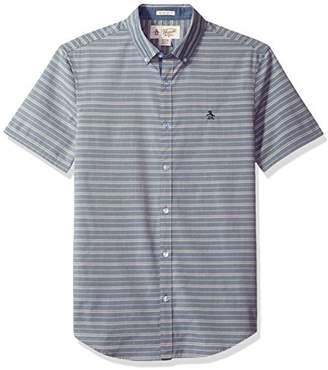 Original Penguin Men's Short Sleeve Button Down Collar Horizontal Chambray Shirt