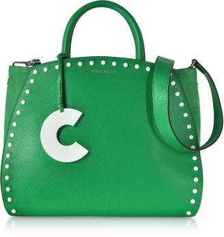 Coccinelle Concrete Studs Top Handle Leather Tote Bag