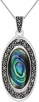 Suspicion Sterling Marcasite & Abalone Pendant w/ Chain