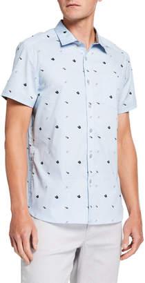 Kenneth Cole New York Men's Flip Flop-Print Short-Sleeve Shirt
