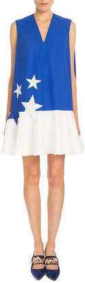 DELPOZO Sleeveless Bicolor Star-Print Dress, Klein Blue
