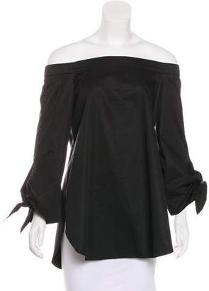Tibi Off-Shoulder Long Sleeve Top