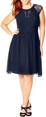 City Chic Dark Romance Lace Detail Dress