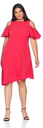 London Times Women's Plus Size Cold Shoulder Asymmetrical Hem Dress