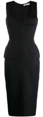 Christian Dior Pre-Owned 1990's V-neck fitted waist midi dress