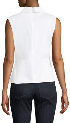 Karl Lagerfeld Paris Tie-Front Collared Poplin Shirt