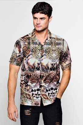 boohoo Tropical Leopard Short Sleeve Revere Shirt