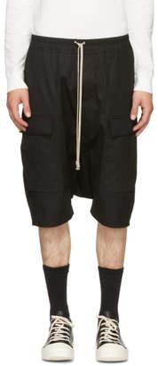 Rick Owens Black Drawstring Pods Cargo Shorts