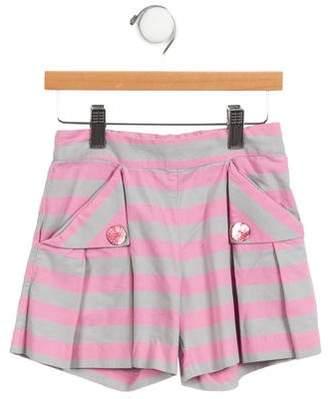 Lili Gaufrette Girls' Striped Pleated Shorts