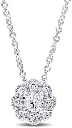 Laura Ashley FINE JEWELRY Laura Asley Womens 1/4 CT. T.W. Genuine White Diamond 10K Gold Pendant Necklace
