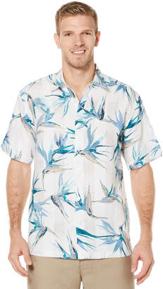 Cubavera 100% Linen Short Sleeve Allover Tropical Print Shirt