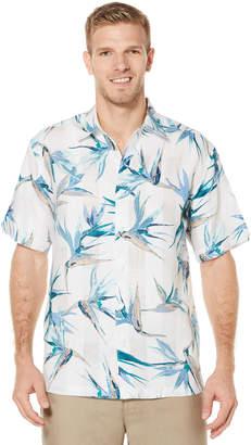 Cubavera 100% Linen Short Sleeve Allover Tropical Print Shirt