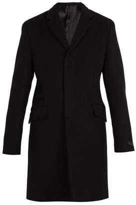 Prada - Single Breasted Wool And Cashmere Overcoat - Mens - Black