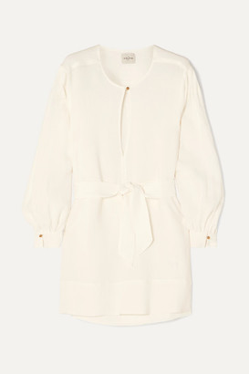 Byblos Le Kasha Belted Linen Mini Dress - Cream
