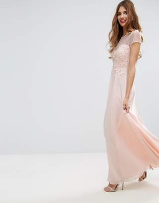 Asos Design Floral Applique 3D Embellished Maxi Dress