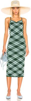 ALEXACHUNG Plaid Midi Dress in Green & Mint | FWRD