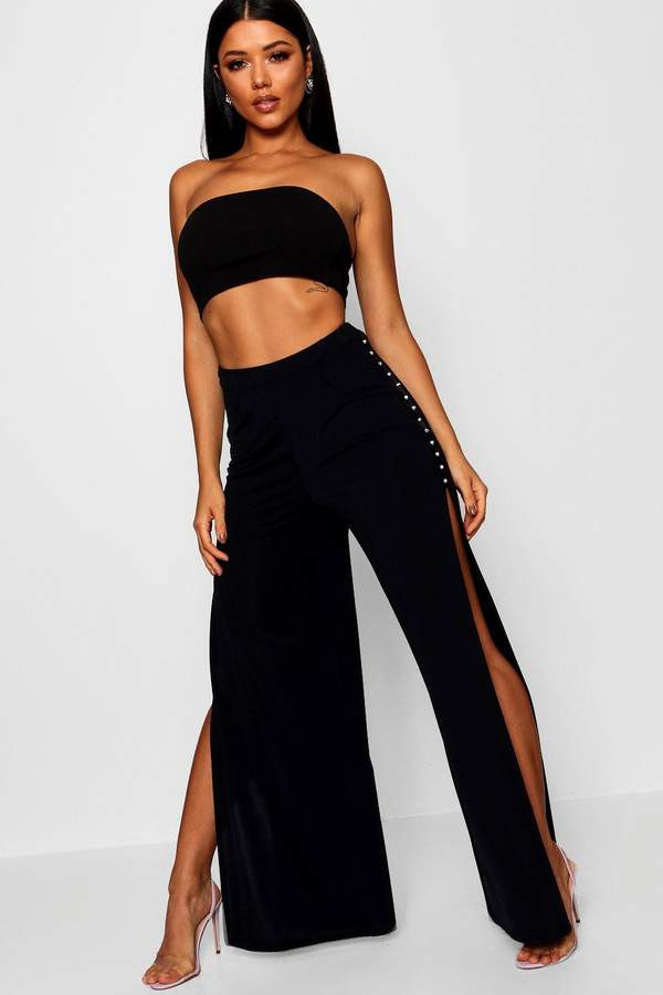 boohoo Wide Leg Stud Detail Split Trouser