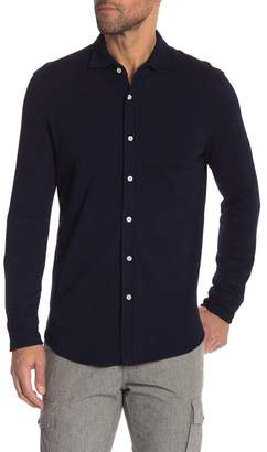 Thomas Dean Solid Thermal Button Front Tailored Fit Shirt