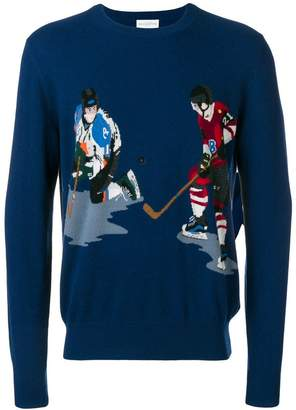 Ballantyne ice hockey intarsia knit sweater